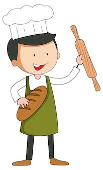 Personagem de desenho animado do homem baker em estilo doodle isolado