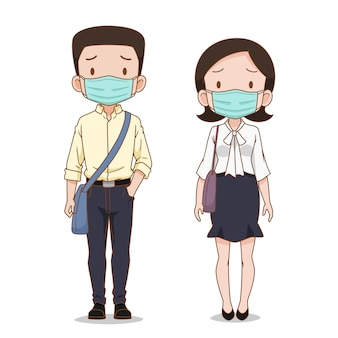 Personagem de desenho animado do homem de negócios e mulher usando máscara de higiene.