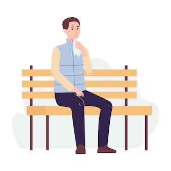 Personagem de desenho animado do homem doente traz um lenço à boca gripe e doença viral, infecção por coronavírus.