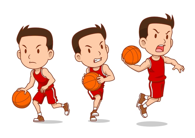 Personagem de desenho animado do jogador de basquete.
