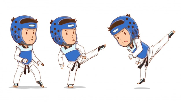 Personagem de desenho animado do jogador de taekwondo.