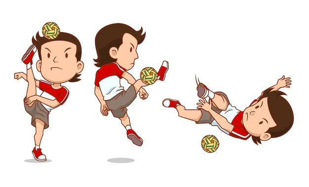 Personagem de desenho animado do jogador sepak takraw.