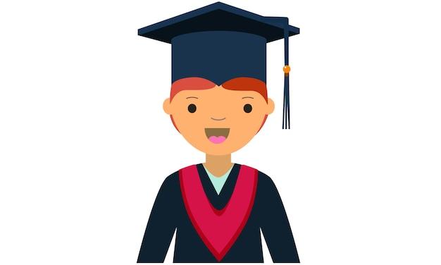 Personagem de desenho animado do jovem licenciado masculino