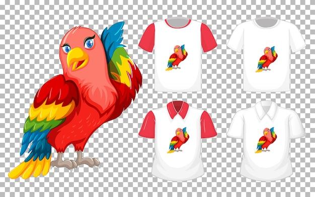Personagem de desenho animado do lovebird com muitos tipos de camisetas