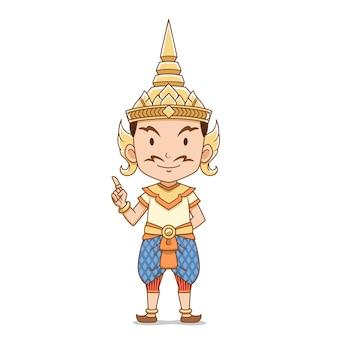 Personagem de desenho animado do macho anjo tailandês tradicional.