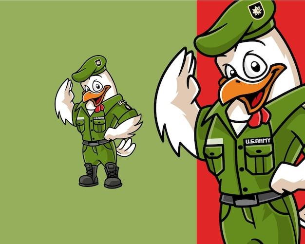 Personagem de desenho animado do major chicken officer mascot