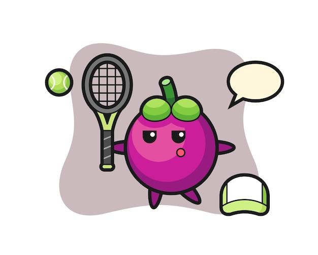Personagem de desenho animado do mangostão como jogador de tênis, design de estilo fofo para camiseta, adesivo, elemento de logotipo