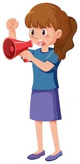 Personagem de desenho animado do manifestante feminino