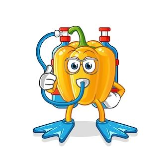 Personagem de desenho animado do mascote de mergulhadores de páprica