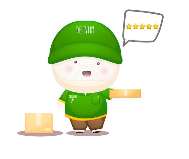 Personagem de desenho animado do mascote do serviço bonito entregador com classificação premium vector