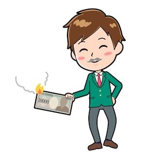 Personagem de desenho animado do menino bonito com um gesto de ilustração sátira.