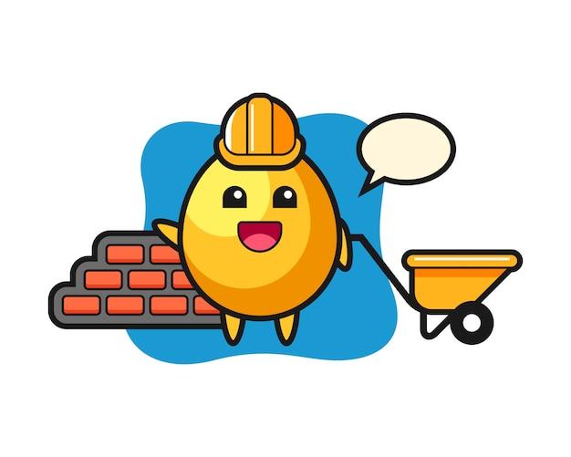 Personagem de desenho animado do ovo de ouro como um construtor, design de estilo bonito