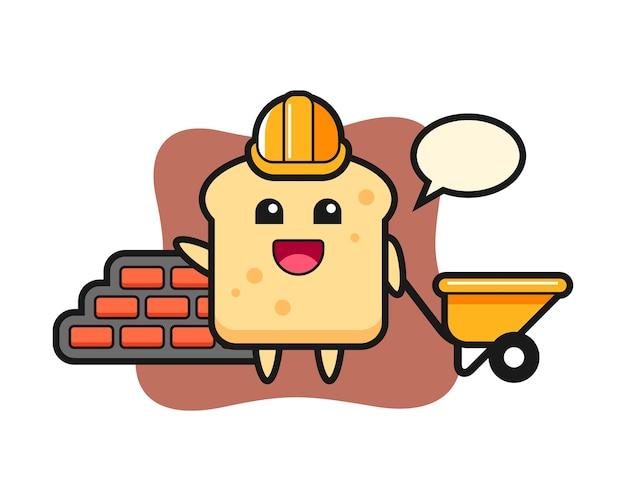 Personagem de desenho animado do pão como construtor