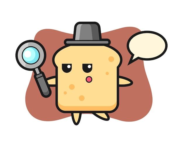 Personagem de desenho animado do pão procurando com uma lupa