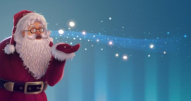 Personagem de desenho animado do papai noel com brilhantes flocos de neve mágicos