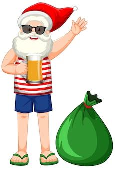 Personagem de desenho animado do papai noel com fantasia de verão e uma grande bolsa de presente