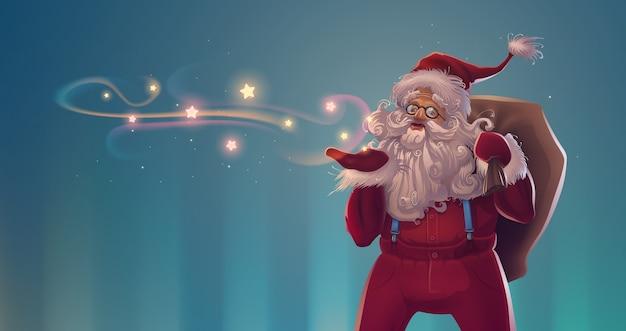 Personagem de desenho animado do papai noel com saco de presentes