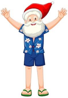 Personagem de desenho animado do papai noel em traje de verão