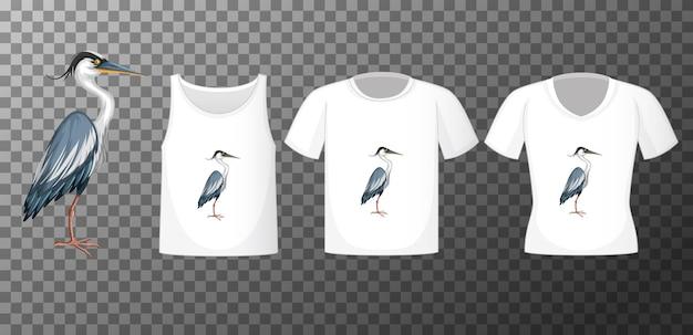 Personagem de desenho animado do pássaro cegonha em pé com muitos tipos de camisas transparentes Vetor grátis