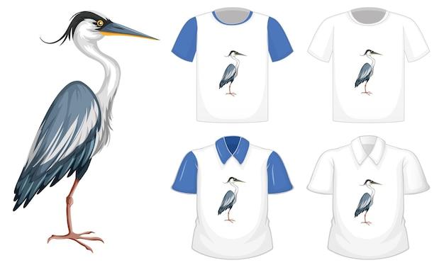 Personagem de desenho animado do pássaro cegonha em pé com muitos tipos de camisas