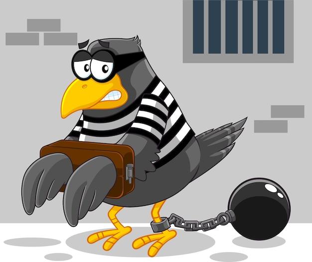 Personagem de desenho animado do pássaro da prisão triste