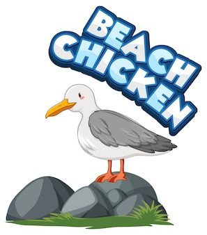 Personagem de desenho animado do pássaro gaivota com o banner de fonte beach chicken isolado