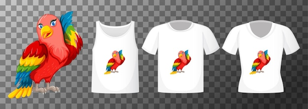 Personagem de desenho animado do pássaro periquito com vários tipos de camisas em fundo transparente