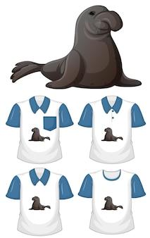 Personagem de desenho animado do peixe-boi com muitos tipos de camisas no fundo branco
