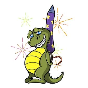 Personagem de desenho animado do pequeno dinossauro escondendo fogos de artifício atrás do corpo e sorrindo