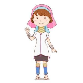 Personagem de desenho animado do pescoço longo karen, hill tribe.