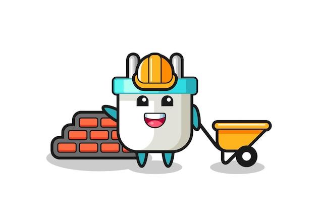 Personagem de desenho animado do plugue elétrico como construtor