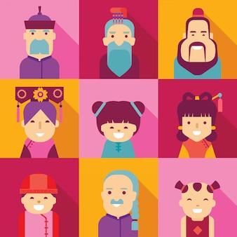Personagem de desenho animado do povo chinês