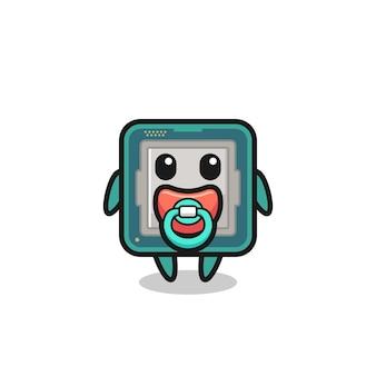 Personagem de desenho animado do processador de bebê com chupeta, design de estilo fofo para camiseta, adesivo, elemento de logotipo