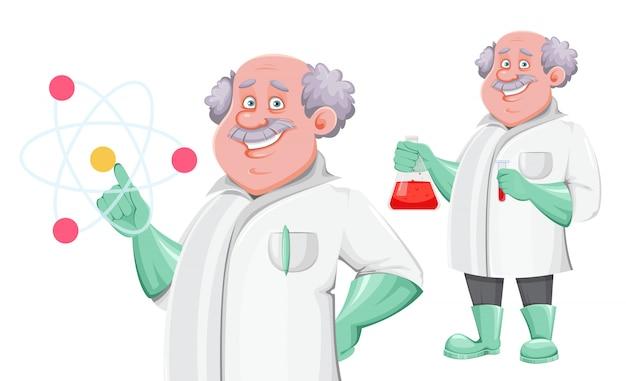 Personagem de desenho animado do professor, conjunto de duas poses