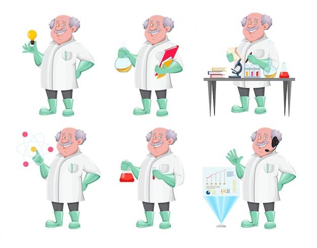 Personagem de desenho animado do professor, conjunto de seis poses