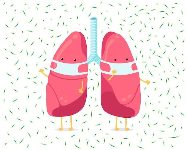 Personagem de desenho animado do pulmão com máscara de higiene respiratória e infecção por vírus em torno do órgão interno humano
