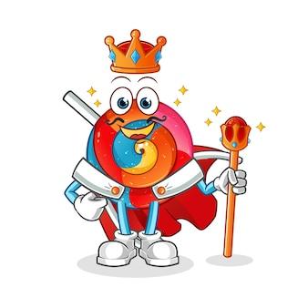 Personagem de desenho animado do rei pirulito