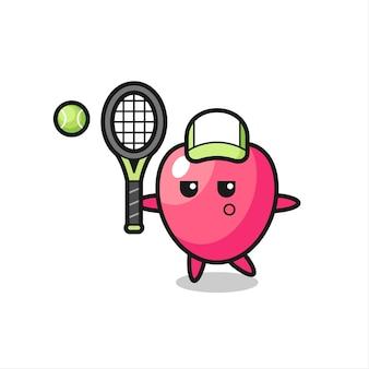 Personagem de desenho animado do símbolo do coração como um jogador de tênis, design de estilo fofo para camiseta, adesivo, elemento de logotipo