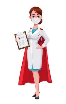 Personagem de desenho animado do superdédico mulher jovem e bonita médica