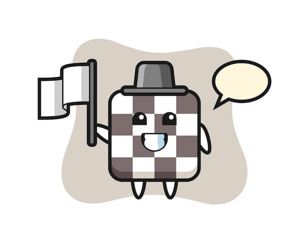 Personagem de desenho animado do tabuleiro de xadrez segurando uma bandeira, design de estilo fofo para camiseta, adesivo, elemento de logotipo