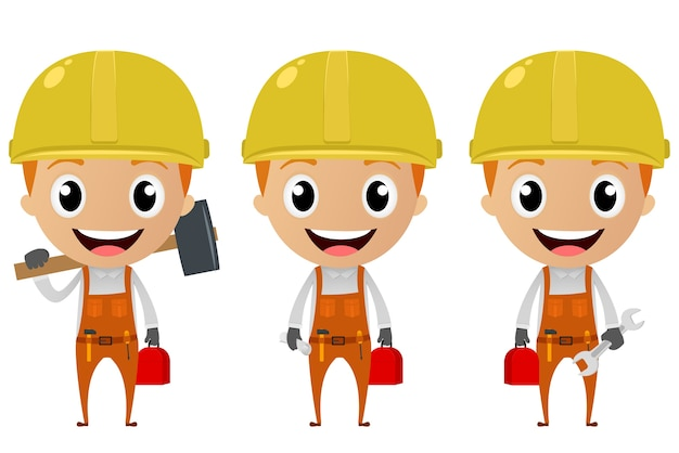 Personagem de desenho animado do trabalhador da construção civil
