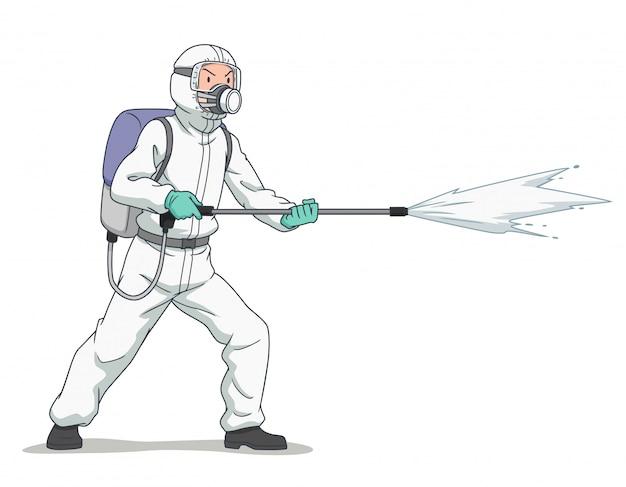 Personagem de desenho animado do trabalhador desinfetante vestindo máscara protetora e roupas, pulverizando coronavírus ou covid-19.