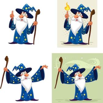 Personagem de desenho animado do velho feiticeiro. conjunto de coleta isolado no fundo branco