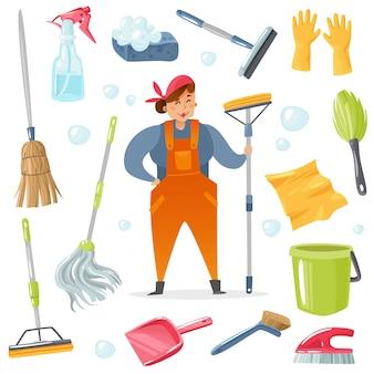 Personagem de desenho animado e conjunto de acessórios de limpeza.