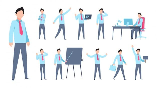 Personagem de desenho animado empresário. pessoa de escritório plana profissional profissional trabalhador empregado corporativo. poses de gerente dos desenhos animados
