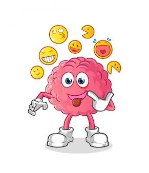 Personagem de desenho animado engraçado cérebro zombando