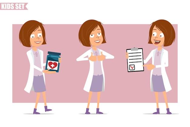 Personagem de desenho animado engraçado cientista médico garota