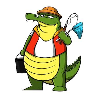 Personagem de desenho animado engraçado do crocodilo vestindo o uniforme do pescador e carregando uma vara de balde e rede