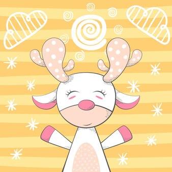 Personagem de desenho animado engraçado veado. ilustração de inverno.