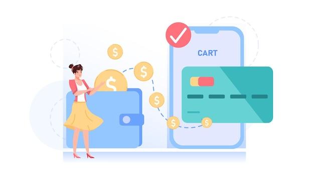 Personagem de desenho animado estilo simples transfere dinheiro online usando ilustração de aplicativo móvel